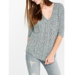 EXPRESS MARBLED GREY KNIT TUNIC SWEATER